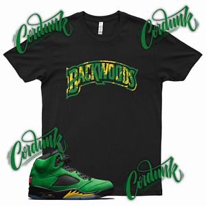 Black BACKWOODS T Shirt for Jordan 5 Oregon Ducks Apple Green Elevate Yellow