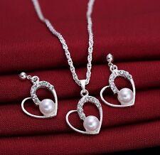 Silver Rhinestone Faux Pearl Love Heart Pendant Necklace & Earrings Set Bridal