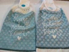 New listing Lot Of 2 New Crocheted Top Hanging Kitchen Towels Home Is Where The Heart Is
