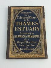 Antique nautical Reynolds colored chart Thames river estuary fold out map ca1893