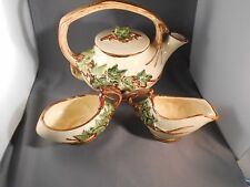 VINTAGE McCOY ART POTTERY TEA IVY SET - 3 Pieces Teapot Sugar & Creamer.