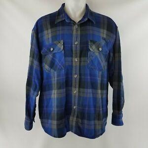 Cabela's Blue & Gray Plaid 100% Heavy Cotton Flannel Shirt Jacket Men's Size 2XL