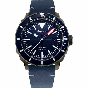 NEW Alpina Seastrong Swiss Automatic Leather/Rubber Strap Watch AL-525LNN4TV6