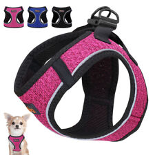 Soft Mesh Small Dog Step-in Harness Safety Reflective Cat Walking Vest Blue Pink
