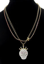 Betsey Johnson WHITE LACE Skull Girl Crown Two-Row Pink Crystal Black Necklace