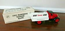 #15 VTG Ertl 1931 Hawkeye Coastal Tanker Truck Die-cast Coin Bank 1:34 w/Key NOS