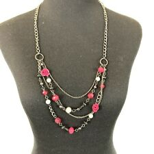 Strand Long Necklace Pretty Claires Raspberry Beaded Floral Multi