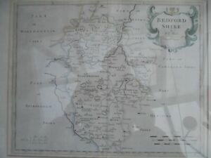 Genuine Antique Robert Morden Hand Coloured Map of Bedfordshire. Published 1772.