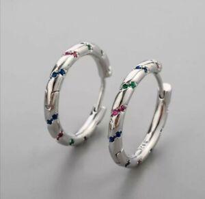 925 Sterling Silver Twisted Pink Green Stones Hoop Earrings 2cm