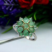 NATURAL GREEN EMERALD RING 925 STERLING SILVER SZ 8.5