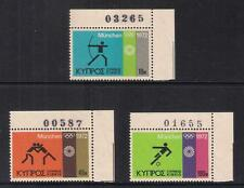 CYPRUS 1972 MUNICH GERMANY OLYMPICS CONTROL NUMBER MNH ARCHER WRESTLING SOCCER