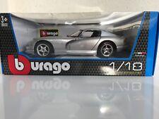 BURAGO 1/18 - DODGE VIPER GTS COUPE ARGENT - NEUF EN BOÎTE D'ORIGINE