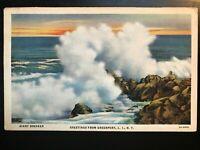Vintage Postcard>1935>Greetings from Greenport>Long Island>New York