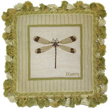 "12"" x 12"" Handmade Wool Needlepoint Petit Point Dragonfly Pillow with Tassels"