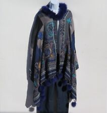 Yak/Sheep Wool Blend|Cape|Wrap|Handcrafted|Nepal|Fox Fur|Colors: Taupe & Blue
