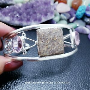TURRITELA AGATE & PINK TOPAZ ONE OF THE KIND BANGLE GERMAN SILVER ELECTROPLATED