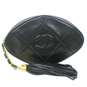 CHANEL Quilted Fringe CC Clutch Bag Pouch 1096135 Purse Black Lambskin 41539