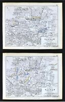 1850 Johnston Military 2 Maps - Napoleon Battle of Wagram 1809 - Vienna Austria
