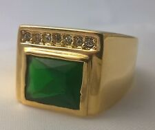 G-Filled Mens 18ct yellow gold simulated diamond emerald ring Gents green oblong