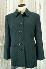 "JAEGER Vintage Jacket UK10 / 34"" Bust S Teal 7-Button Blazer Woolmark Made in UK"
