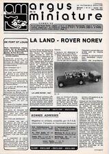 ARGUS DE LE MINIATURE N° 31 Janvier 1981 Land Rover Norev - Dubray - CIJ