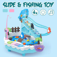 2-in-1 Music Light Penguin Climbing Stairs Magnetic Fishing Toys Electric Puzzle