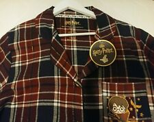 Ladies Harry Potter Night Shirt Size XL 18-20 Maroon Tartan Cotton Long Sleeve