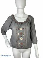 MINE Anthropologie Blouse Small Gray Embroidered Floral Boho Peasant Shirt Top