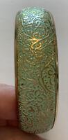 Bangle Etched Enamel Floral Mint Green Gold Tone Metal Bangle Bracelet