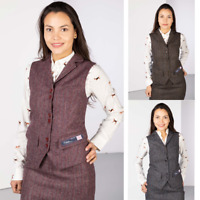 Ladies Tweed Waistcoat 100% Wool Smart Tweed Gilet Bodywarmer Women's Rydale