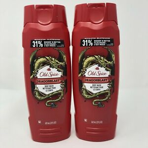 2 Old Spice DRAGONBLAST, Wild Collection Body Wash 21 Oz Each Big Size
