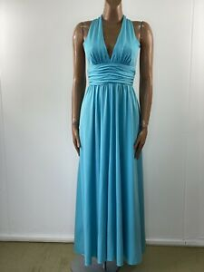 JOHN CHARLES Vintage 1960s Turquoise Halterneck Maxi Gown Size 12/14