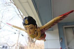 Wooden Carves Hand Painted Indian India Woman Flying Bird Statue Figure