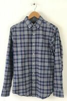 NEW BANANA REPUBLIC Mens Small Luxe Flannel Slim Fit Gray Blue & Red Plaid Shirt