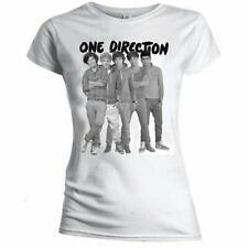 One Direction Ladies Tee: Group Standing Black & White with Skinny Fitting (X-La