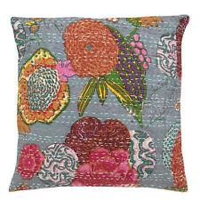 24x24 Gray pillow Kantha Pillow Cover Kantha throw Pillow kantha cushion Cover