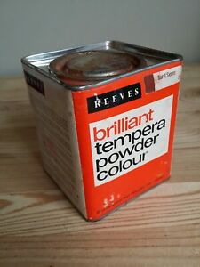 Vintage Reeves Tempera Powder Colour Paint Tin Brilliant Brown - Advertising