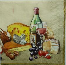 TABLE OF WINE & PAIRINGS 2 single LUNCH SIZE paper napkins for decoupage 3-ply