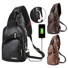 Men Leather Sling Bag Chest Shoulder Crossbody Backpack USB Charging Port Travel