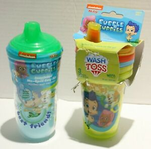 Nuby Nickelodeon Bubble Guppies Wash or Toss/Insulated Sippy Cups 2pk