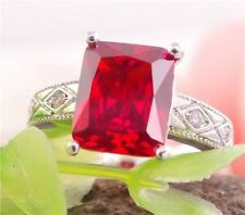 925 Sterling Silver Red Princess Ring - Size 8