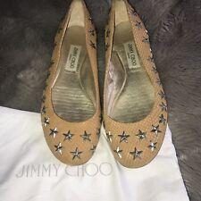 Jimmy Choo Ballet Pumps Size 40 Star Studs Camel/beige Worn Twice