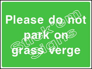 Please do not park on grass verge - COUN0052 Stickers & Signs