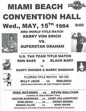 """KERRY VON ERICH vs SUPERSTAR GRAHAM - NWA TITLE 1984 - 11""""X14"""" POSTER"""