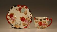 Early Nippon Handpainted Daisy Shape Red/Pink Peonie Demitasse Cup and Saucer