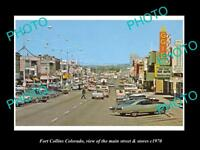 OLD LARGE HISTORIC PHOTO OF FORT COLLINS COLORADO, THE MAIN ST & STORES c1970