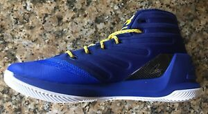 UNDER ARMOUR UA STEPH CURRY 3 MEN'S BASKETBALL BLUE/YELLOW SNEAKERS SHOE 1269279