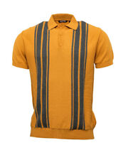 Relco Mens Knitted Short Sleeve Polo Shirt Mustard Grey Vintage Retro 60s Mod