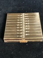 Vintage Collectible Volupte USA Gold Tone Powder Compact