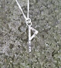 Viking Rune V or W, Wunjo, Joy, Kinship, Sterling silver pendant with chain